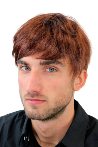 Men's WIG (for Men or Unisex) HIGH QUALITY synthetic short brunette REDDISH BROWN youthful young