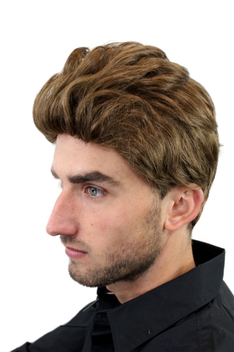 Men s WIG (for Men or Unisex) HIGH QUALITY synthetic short  WIND-brushed combed (slight quiff) BROWN 1a3364051