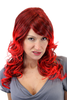 HELLISH HOT & GLAMOROUS Lady Quality Wig BROWN with fiery RED curled bouncing ends LONG She-Devil