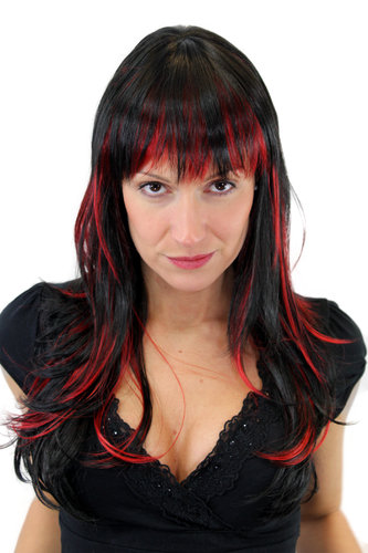 SEDUCTION Lady Quality Wig WILD Black & Red Strands LONG straight fringe