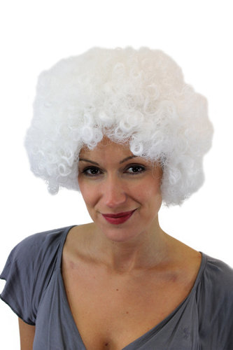 Party/Fancy Dress/Halloween/Soccer WIG gigantic super volume WHITE disco AFRO funky huge HAIR!