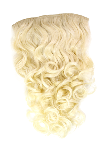 Hairpiece Halfwig 7 Microclip Clip In Extension long BEAUTIFUL curls curled BRIGHT BLOND platinum