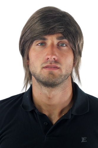 Men's WIG (for Men or Unisex) HIGH QUALITY synthetic short long in the neck BROWN medium youthful