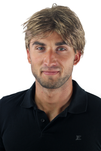 Men's WIG (for Men or Unisex) HIGH QUALITY synthetic short DARK BLOND youthful young look Man