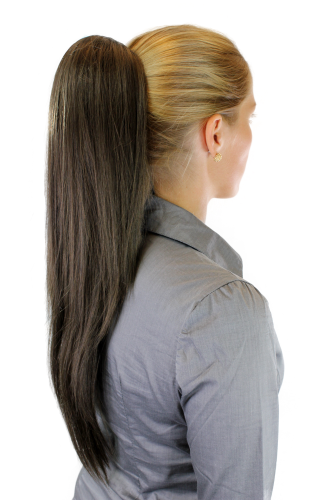 Hairpiece PONYTAIL extension VERY long AMAZING volume BROWN straight WK06-8