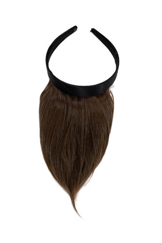 Hair Piece Clip in Bangs Fringe with hair circlet HIGH QUALITY synthetic fiber BROWN brunette