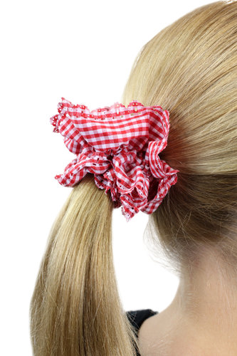 Hair Extensions Scrunchy red white Z007
