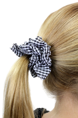 Hair Extensions Scrunchy black white Z009