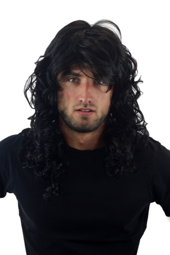 GLAMOUROUS Quality Man Unisex Wig Glam Rock Rocker Metal LONG backcombed curls BLACK voluminous