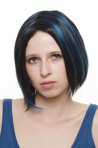 Perucke Bob Schwarz Blaue Strahnen Mittelscheitel Sa048 2b061