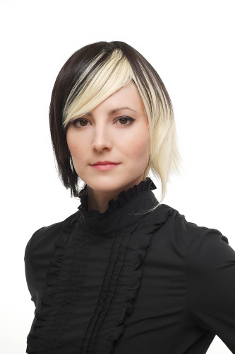 Lady Quality Wig Cosplay short Page Bob two coloured dark brown bright blond Goth Emo 1241-050X002