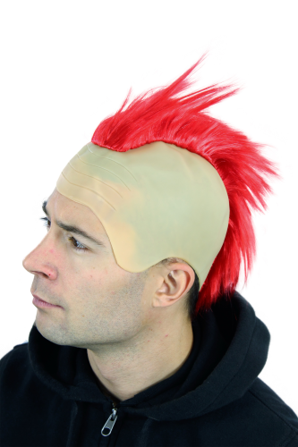 WIG ME UP - Party/Fancy Dress/Halloween RED MOHAWK on bald head Punk Anarchy 4201-PC13
