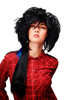 Party/Fancy Dress Wig amazing volume with long ponytail 80ies Wave Glam Punk Black & Blue strands