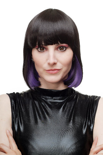 Lady Quality Wig Cosplay short Page Bob black with purple ends bangs fringe Goth Emo SA067-2-T2404