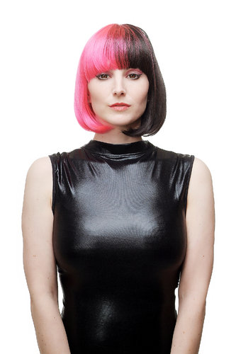 Lady Quality Wig Cosplay short Page Bob Longbob two-faced split in middle pink & black bangs fringe