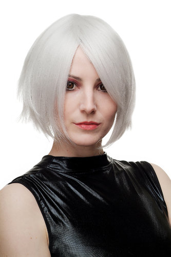 WIG ME UP ® - Lady Quality Wig Cosplay short wild grey white Bob Wave Goth 1261-001