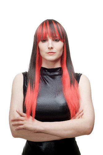 Lady Quality Wig Cosplay long straight black with red strands & ends bangs fringe Punk Emo Goth