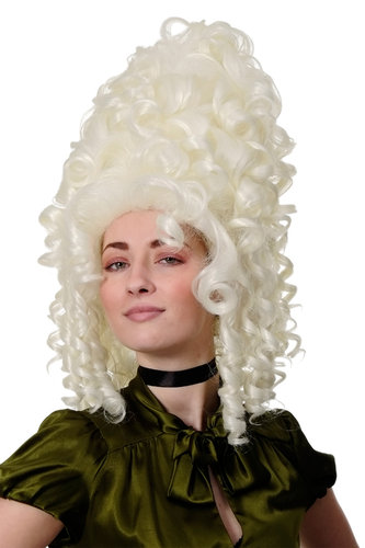 Lady Quality Wig Theatre Renaissance Baroque Rococo Beehive Marie Antoinette bright white blond