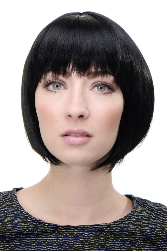 WIG ME UP ® - Lady Quality Wig short Page Bob fringe bangs deep black 703-1