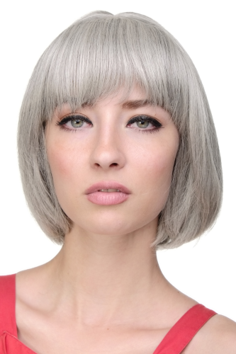 WIG ME UP ® - Lady Quality Wig short Page Bob fringe bangs silvery grey 703-51