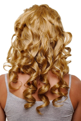 Hairpiece Halfwig 7 Microclip Clip-In Extension curls very long & full medium gold blond 50 cm