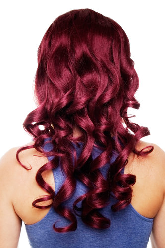 Hairpiece Halfwig 7 Microclip Clip-In Extension curly curls very long & full aubergine red 50 cm