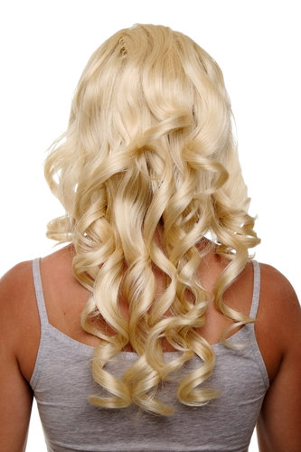 Hairpiece Halfwig 7 Microclip Clip-In Extension curls very long & full bright light goldblond blond