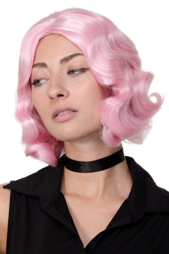 Lady Quality Wig Bob wavy middle parting Twenties Movie Star Diva Charleston Swing Style Wave pink