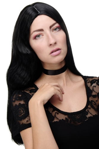 GFW1734-1B Glamorous Lady Quality Wig long asymmetrical straight & wavy middle parting black 21""