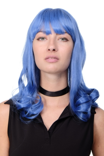 "Lady Quality Wig Cosplay blue long bangs fringe straight curling ends Popstar Alien Emo 18"" inch"