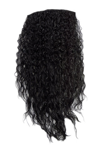 Hairpiece half wig Clip-In Extension very long stringy crimpy curls latin shiny oily wet-look black