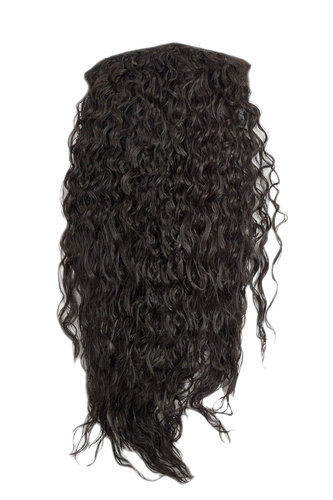 Hairpiece half wig Clip-In Extension long stringy crimpy curls latin shiny oily wet-look dark brown