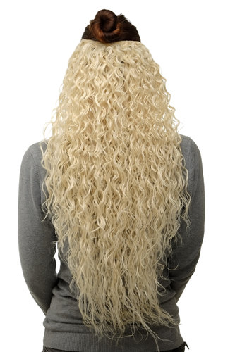 Hairpiece half wig Clip-In Extension long stringy crimpy curls shiny oily wet-look platinum blond