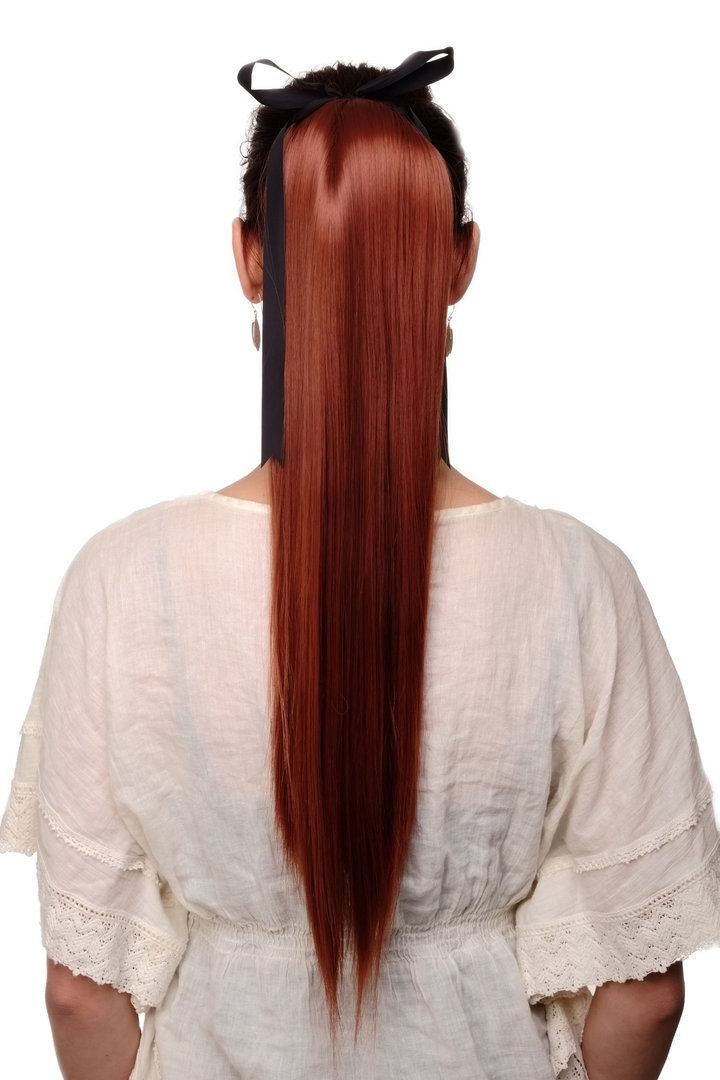 Hairpiece PONYTAIL extension long straight very light with ribbon and comb  wrap around system red 3b78ecc628f5