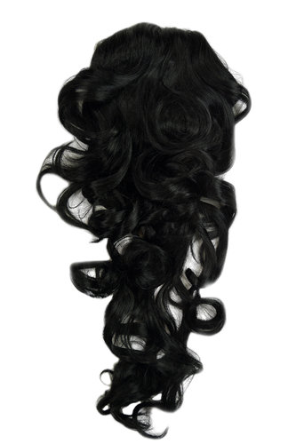 Hairpiece PONYTAIL with combs and elastic draw string curly voluminous very long deep black 23 ""
