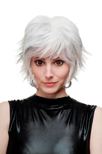 Lady Cosplay Quality Wig wild backcombed spikey hair punk silver & black hair strands underneath