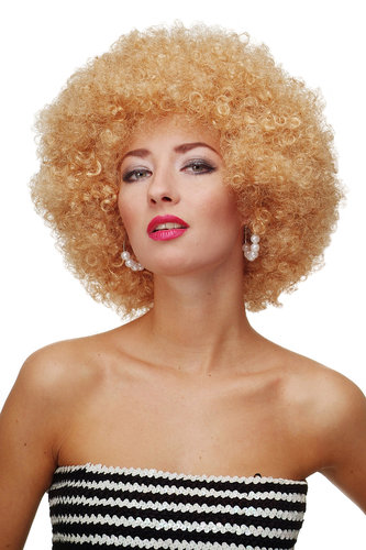 Party/Fancy Dress/Halloween WIG gigantic super volume GOLD BLOND disco AFRO funky huge HAIR!