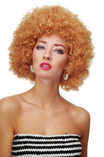 Party/Fancy Dress WIG gigantic super volume in a darker GOLD BLOND disco AFRO funky huge HAIR!