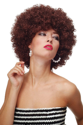Party/Fancy Dress/Halloween WIG gigantic super volume MAHOGANY brown disco AFRO funky huge HAIR!