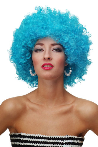 WIG ME UP - Party/Fancy Dress/Halloween WIG gigantic super volume BLUE disco AFRO funky huge HAIR!