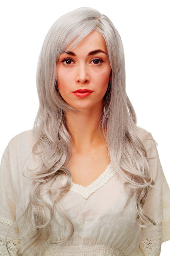 Stunning Lady Quality Wig very long wavy long fringe (for side parting) silvery grey 27,5 inch