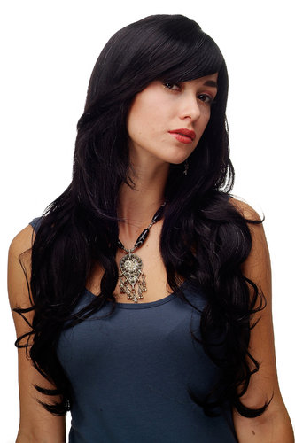 Stunning Lady Quality Wig very long wavy long fringe (for side parting) black streaked + gray grey