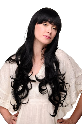 Lady Quality Wig VERY LONG straight with slightly curled wavy ends black bangs fringe 3116-1B