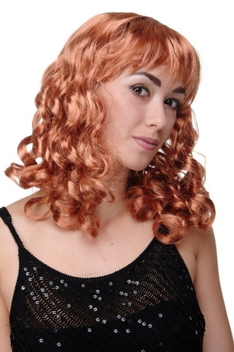 Party/Fancy Dress Lady WIG long COPPER red blond slightly curly FRINGE Diva Femme Fatale Princess