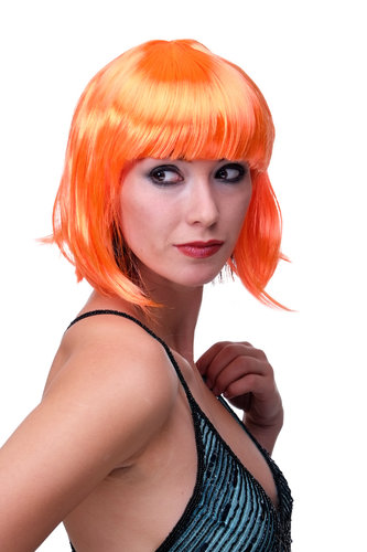 WIG ME UP Party/Fancy Dress/Halloween Lady WIG Bob fringe short sexy ORANGE disco COSPLAY Burlesque