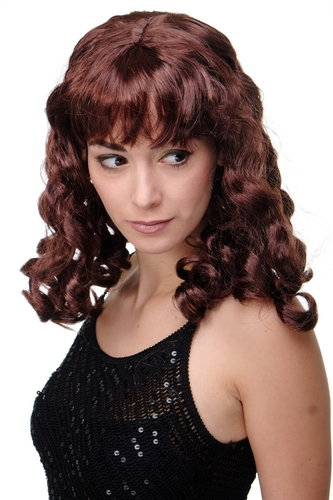 LM-142-P30 Party/Fancy Dress/Halloween Lady WIG long Mahogany Brown slightly curly FRINGE Diva