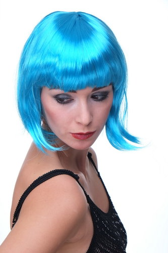 WIG ME UP Party/Fancy Dress/Halloween Lady WIG Bob fringe short sexy BLUE disco PW0114-PC40 COSPLAY
