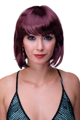 Party/Fancy Dress/Halloween Lady WIG Bob fringe short sexy aubergine eggplant RED disco Burlesque