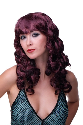 Party/Fancy Dress Lady WIG long dark aubergine eggplant RED slightly curly FRINGE disco