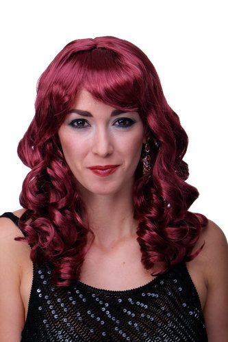 Party/Fancy Dress Lady WIG long garnet RED fringe slightly curly FRINGE Hollywood Diva Femme Fatale